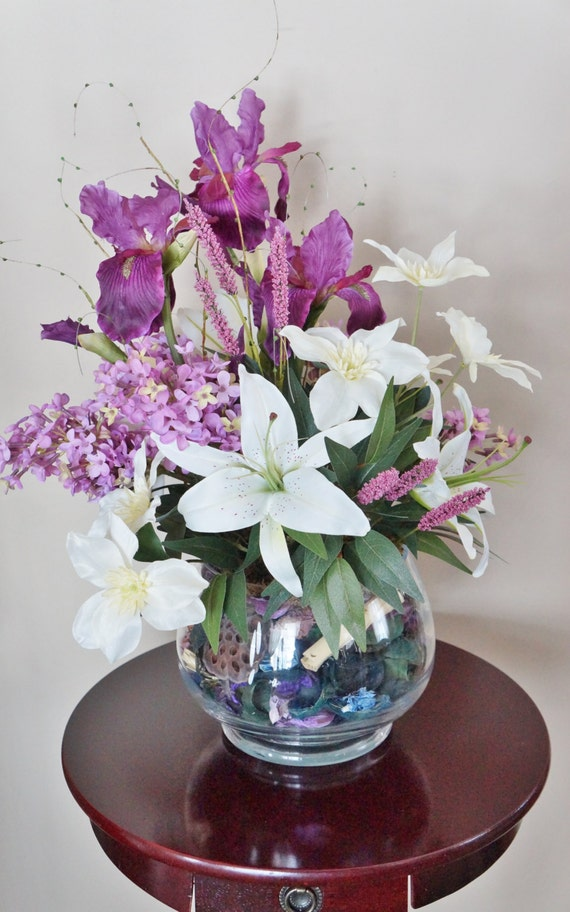 Flower Arrangement Home Decor Iris Lilies Lilac Purple And White Arrangement