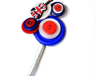 Musical mod buttonhole / button buttonhole / button corsage / button brooch / red white and blue buttonhole / alternative buttonhole