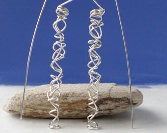 Silver Dangle Earrings-Silver Spiral Earrings-Silver Wire Earrings- Handmade Silver Earrings- Modern Silver Earrings-Valentines Day Gift
