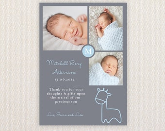 Boys Photo Birth Announcement. Giraffe. I Customize, You Print.