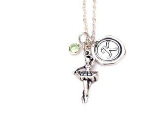 Ballerina Necklace Initial Birthstone dancer  jewelry ballerina necklace
