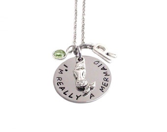 Mermaid Necklace-  initial Gift Girly Geek hand stamped mermaids jewelry birthstone