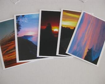 Cards ~   California  Sunset  Ocean  Handmade  Cards  w/envelopes   set/5   (#N14)