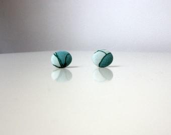 Handmade Button Statement Earrings Green
