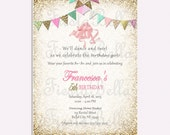 Ballet, ballerina, birthday invitation, pink, mint, gold, glittter bunting.  Printable, DIY. Birthday, bridal shower, baby shower. Recital