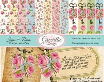 Keys & Roses Digital Paper Pack