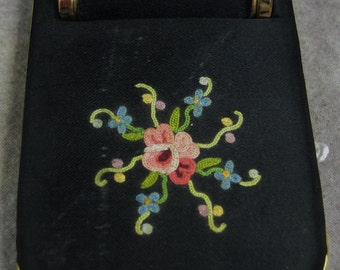 Satin Embroidered COMPACT w/built-in Lipstick FRANCE