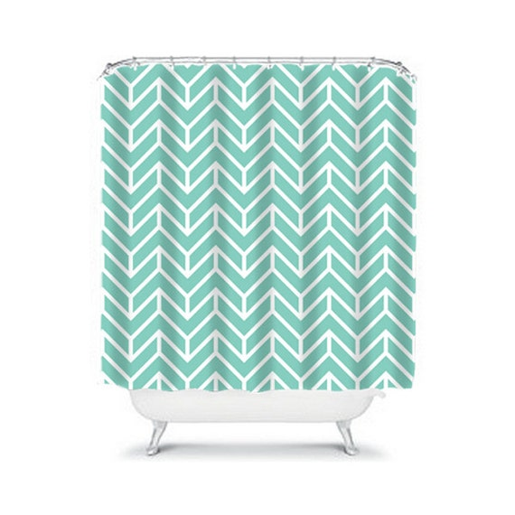 Chevron Shower Curtain Aqua Turquoise Shower Curtain Dorm