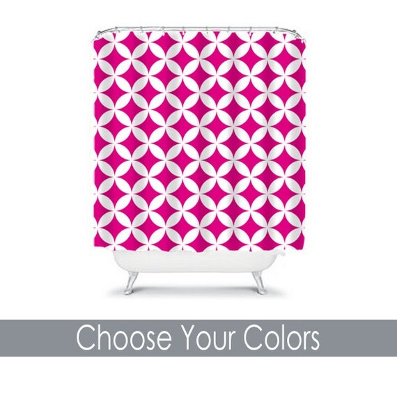 Items similar to quatrefoil hot pink shower curtain for Quatrefoil bathroom decor