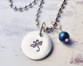 Personalized hand stamped dragonfly necklace - Birthstone jewelry -  Inspirational necklace
