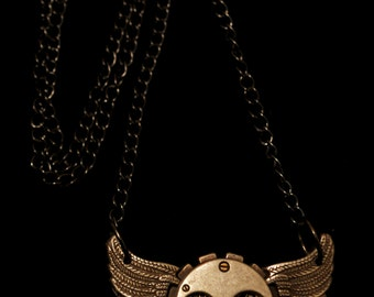 "Steampunk Wings With Gears Neckless with 18"" Chain"