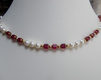 Ruby Red and Cream Crystal Pearl Adjustable Necklace  0752