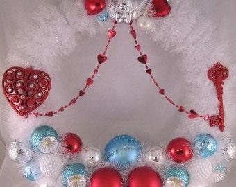 Red, White, and Aqua Valentine Wreath, Valentine Ornament Wreath