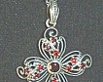 Reduced: Vintage Sterling Silver and Garnet Pendant with 18 Inch Chain