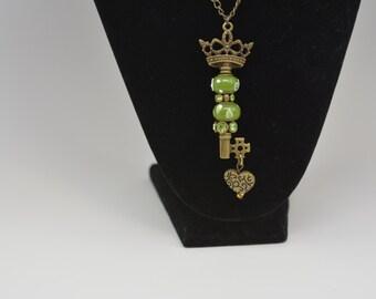 Skeleton Key Heart Pendant, Beaded Skeleton Key Pendant, Long Skeleton Key Necklace