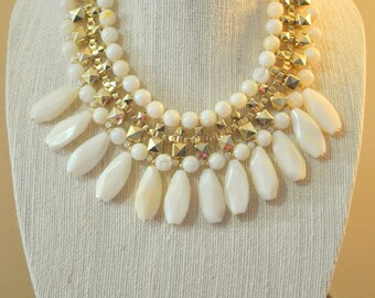 Statement Necklace and earrings set, Bib Necklace, Ivory Necklace, Teardrops necklace, Tribal, Gift idea, Beadwork.