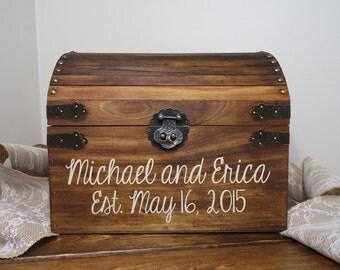 Rustic Wooden Chest Wedding Card Box, Wedding Card Placement Box, Wedding Card Chest, Large Keepsake Box, Card Box, Chest Wedding Box