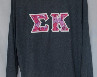 Charcoal Gray Long Sleeve With Sigma Kappa Lilly Print on Glitter