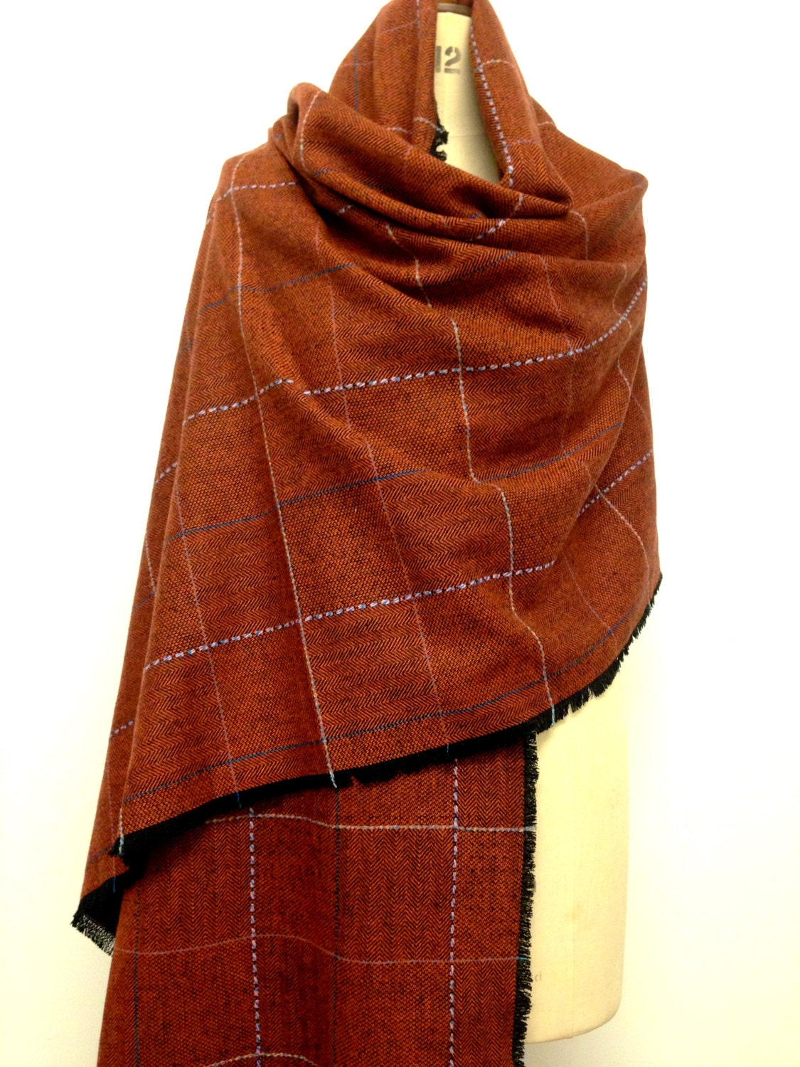 oversized scarf cognac orange unisex blanket scarf