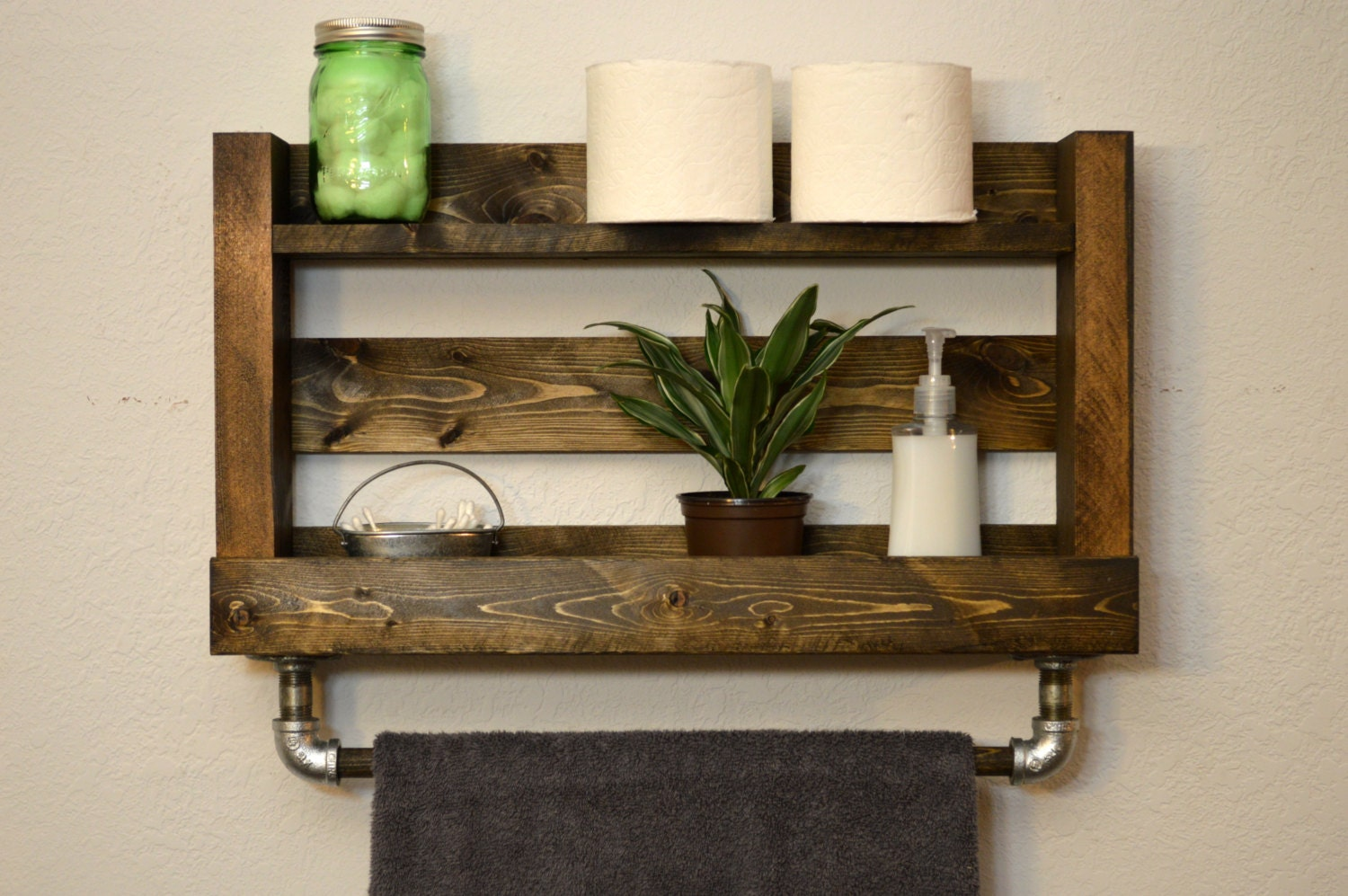 Modern industrial bathroom shelf with wood by