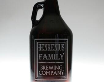 Growler  with Simple Old School Family Name Brewing Label Design. Homebrew, Beer, Beer Gift, , Beer Glass, Beer Tools