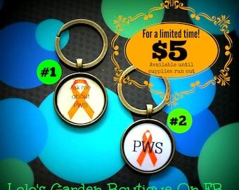 Prader-Willi PWS Go Orange KEY CHAIN Prader Willi Syndrome awareness cabochon