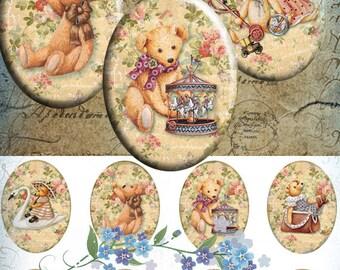 Teddy bear - 30x40mm Images 4x6 paper Digital Collage Sheet Printable Download for pendants bezel magnets scrapbooking paper craft