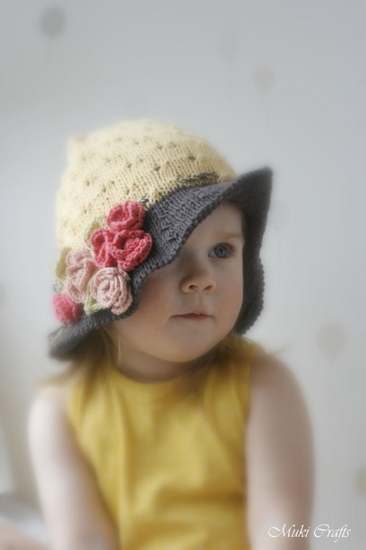 Knitting Pattern Baby Sun Hat : KNITTING PATTERN sun brim hat Ella with crochet flowers baby