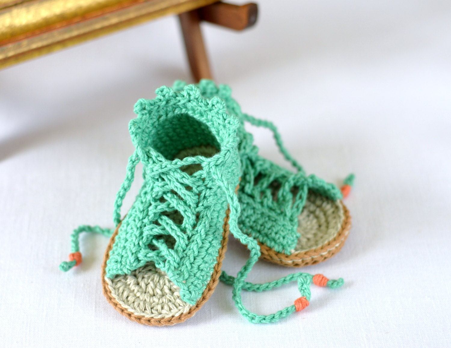 Simple Crochet Patterns For Baby Booties : CROCHET PATTERN Baby Sandals Baby Gladiator Sandals Crochet