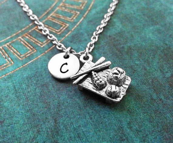 Monogram sushi necklace