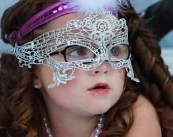 Flapper Costume Mask for children 1920s Dress Mask for girls in Silver