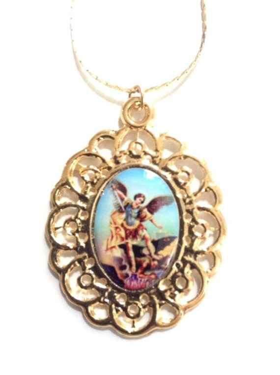 st michael medal necklace archangel st michael gold by