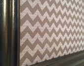 Large 16x20 and 24x36 inch Framed Bulletin Board Gray Chevron Print Fabric Cork Board CUSTOM Frame Colors