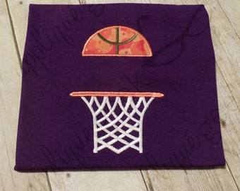 Basketball and Hoop Split Applique Embroidery Design
