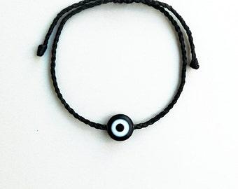 Black evil eye,Beaded macrame bracelet,Unisex,Acrylic bead,Adjustable,Surfer,Sea,durable,Water resistant,Traditional greek handmade jewelry