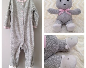 Keepsake Bear, Memory Bear, Teddy Bear Made from Baby Onesie
