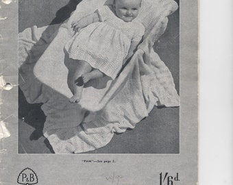 Vintage knitting pattern, baby layette with shawl. Pam