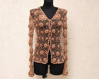Vintage Brown Crocheted Cardigan Bohemian Romantic Summer Crochet Jacket Long Sleeve Small Size