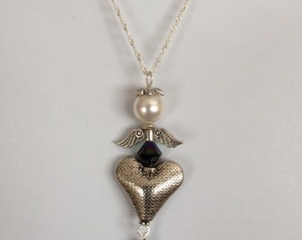"""Silver angel necklace with Swarovski crystals on an 18"""" sterling silver chain"""