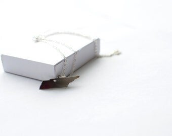 State Necklace! State of Tenessee Necklace! Sterling silver chain
