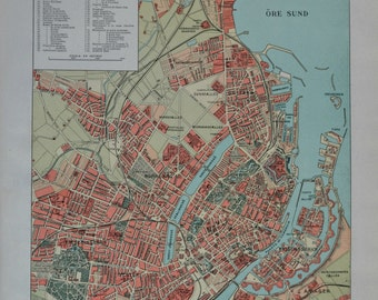 Copenhaguen map in 1910. Old book plate. Antique  illustration. 105 years lithograph. 9'4 x  12'5 inches.