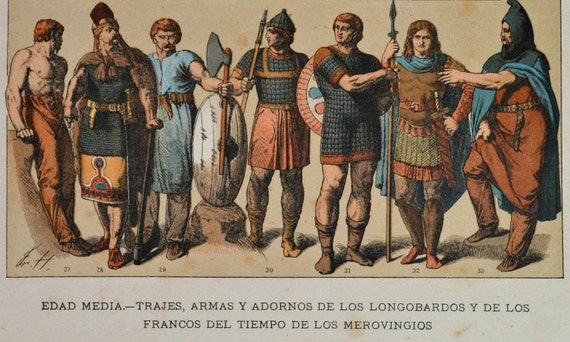 Lombards and Franks clothes, weapons and ornaments. Middle Ages. Antique print,1894.  121 years old print.  11,5 x 8,4 inches.