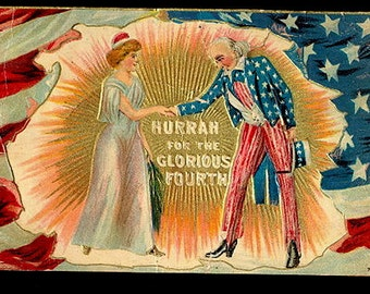 "1909 ""Hurrah for the Glorious Fourth"" Uncle Sam Postcard"