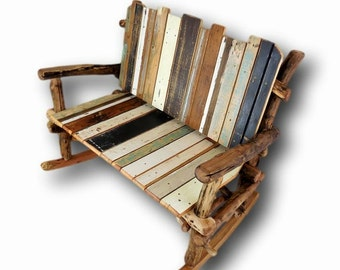Rocking Bench, Rustic Rocking Chair, Rustic Love Seat, Reclaimed Wood Rocking Chair, Rustic Rocker, Porch furniture, Cabin Furniture, Wooden