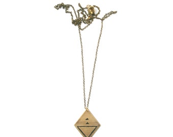 LANGKAWI | Brass Pendant Necklace, Etched and Painted Trapezoid with Black Geometric Triangles Pattern | ORIGINS Collection