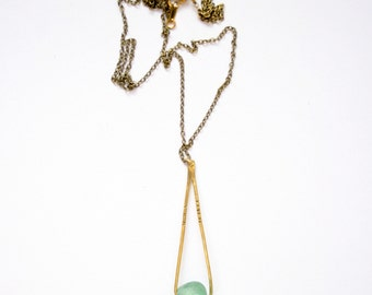 CLOUD | Light Green or Mint African Glass on Hammered and Stamped Brass, Long Necklace