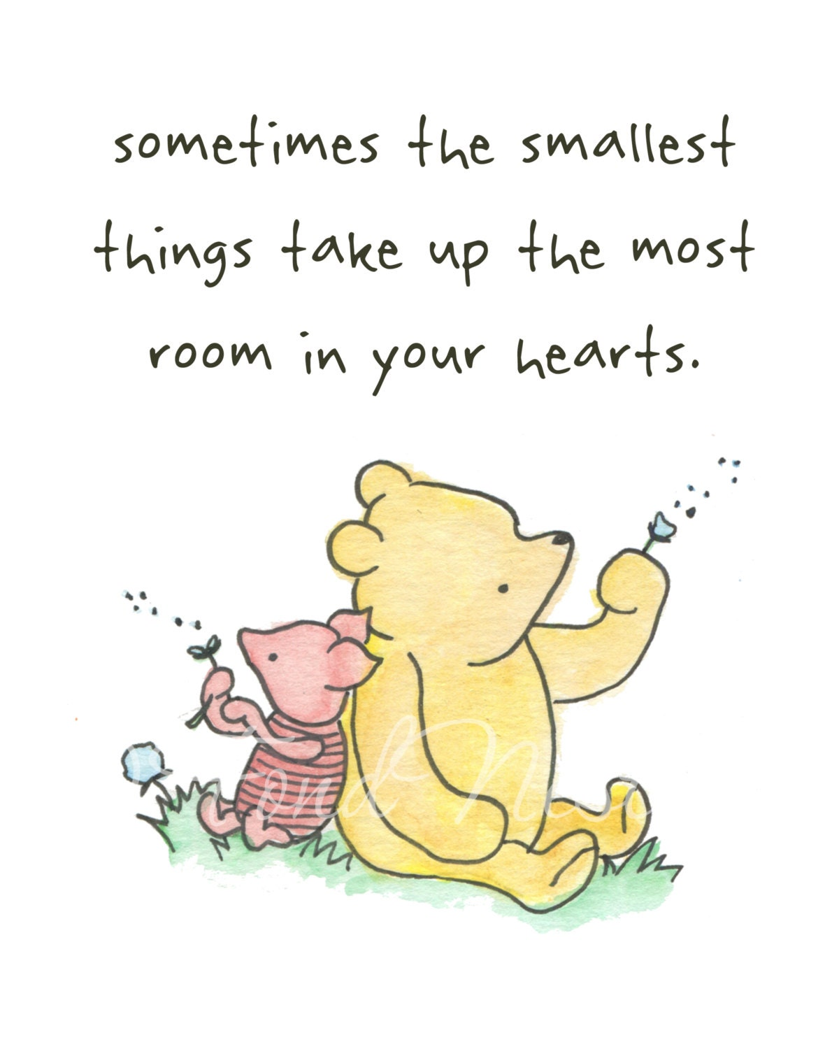 Winnie The Pooh Piglet Cute Quote Watercolor Art By FondNest