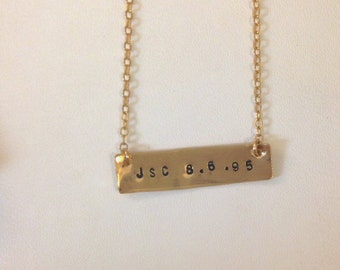 Initial and Date Necklace, Initial and Date Bracelet, Gold Bar, Custom Date