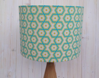 SALE**Modern Geometric Hexagonal design Lampshade in Blues and Green