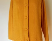 Vintage 1960s Sweater, Mustard, Covered Buttons, Cardigan, Fall, Autumn,
